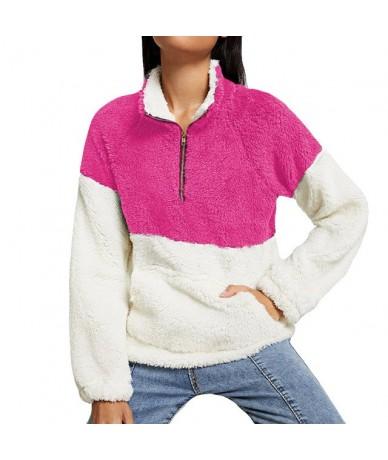 Womens Plush Autumn Sweatshirt Zipper Patchwork Winter Tops Oversize Long Sleeve Sweatshirt Outwear Harajuku Pullovers - Hot...