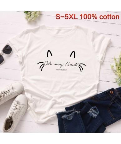 Plus Size 3XL 4XL 5XL Women T Shirts Summer T-shirt Cartoon Cat Print Short Sleeve Tops Korean Tshirt Harajuku Tees Black Sh...
