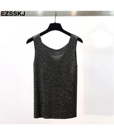 2019 bling summer Glitter knit Tank Tops Women sexy girls camisole Shiny o-neck top shiny sleeveless t shirt female Lurex ca...