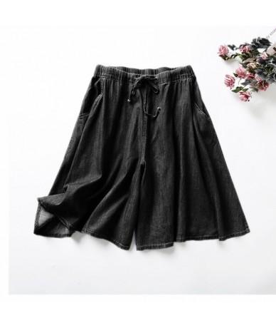 2019 New Hot Summer Women's High Waist Denim Shorts Skirts Femininos Harajuku Casual Solid Color Jeans Plus Size 5XL7XL Blac...