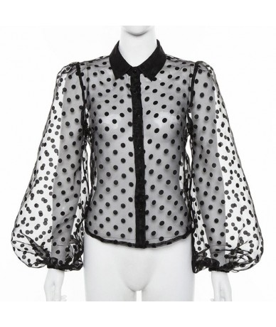 Women Sexy Transparent Mesh Blouse Shirt Polka Dot Lantern Sleeve Female Office Shirts Casual Streetwear Stylish Lady Blusa ...