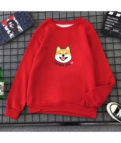Winter Womens Harajuku Kawaii Shiba Inu Pattern Print Sweatshirt Casual O-neck Clothes Kpop Cotton Pullover Sweatwear 16 Col...