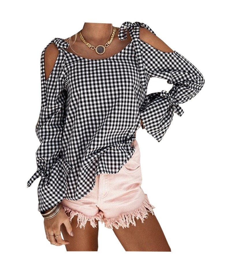 Blusas women's 2018 autumn new casual custom color check cross straps sleeveless long-sleeved bow shirt shirt vestidos YN21 ...