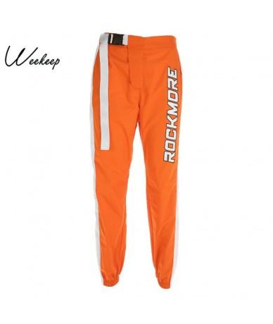 Women Adjustable Buckle High Waist Pans Patchwork Letter Print Streetwear Pencil Pants Fashion Pleated Trousers Women - Oran...