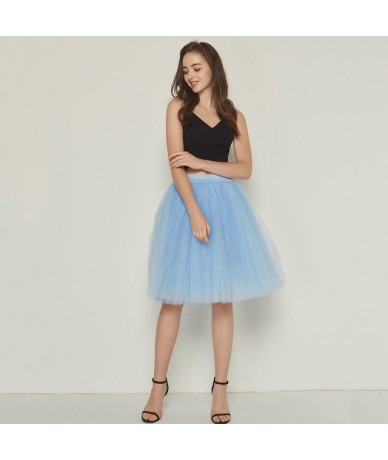 Fashion 5 Layers 60cm Fashion Tulle Skirt Pleated TUTU Skirts Womens Lolita Petticoat Bridesmaids Midi Skirt Jupe Saias fald...