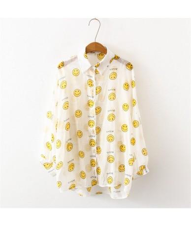 Summer Women Sunscreen Shirts Trendy Fruit Avocado Pineapple Print Long Sleeves Top Beachwear Cover Blouse Female Blusas - 8...