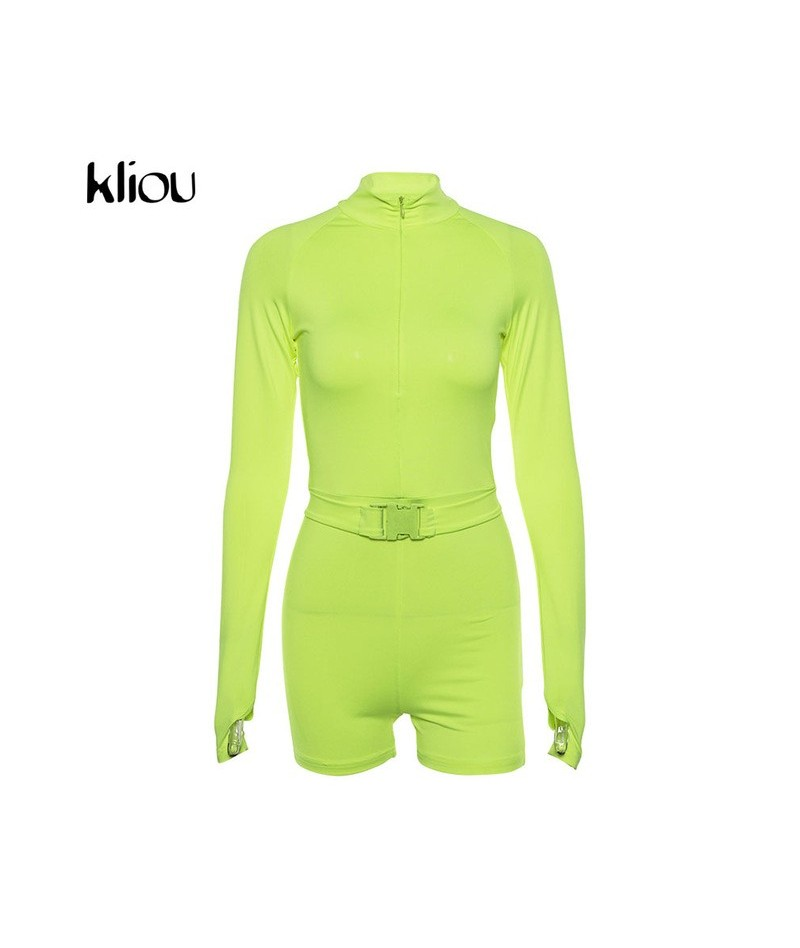 new women fluorescence solid color playsuits 2018 autumn female full sleeve zipper fly turtleneck skinny casual bodysuits - ...