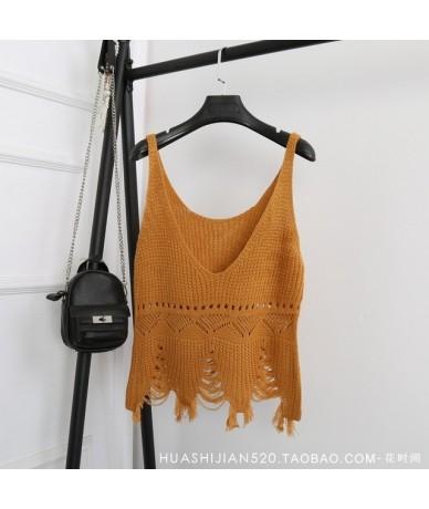 2019 Summer New Sexy V Neck Hole Tassel Tops Knitting Vest Solid Color Short Bottom Vests Women's Tank A362 - khaki - 4U3955...