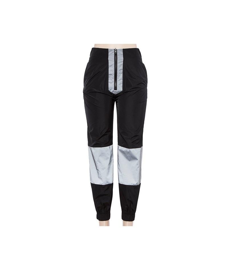 Reflective Tracksuit Women Fashion Vest+Long Pants 2 Piece Set Hip Hop Reflective Sweatpants Suit Pantalon Femme - Long pant...