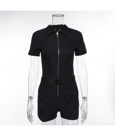 Women's Autumn Rompers Women Jumpsuits Khaki Black Mini Pants Trousers Shortsleeve Casual Playsuits - Black - 32950921678