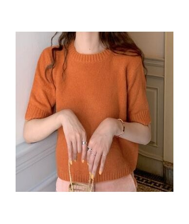 2019 spring and summer solid color korean style short sleeve knited sweaters womens sweaters and pullovers (R5590) - Beige -...