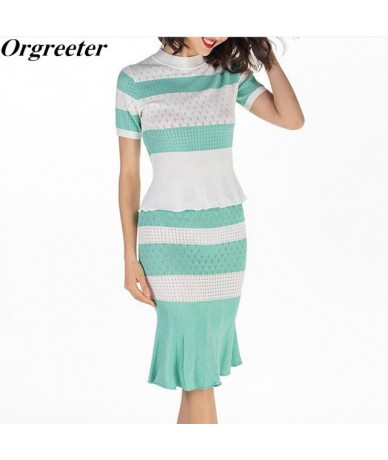 Graceful Fashion Knitted Skirt Suits Pink Ruffle Hem Slim Knitting Pullovers Tops +Mermaid SKirt Sets Green Two Piece Set Wo...