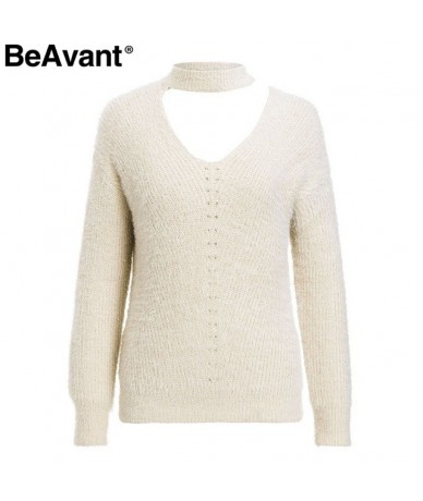 Cold shoulder halter mohair knitted sweaters female Casual autumn winter sweater women Knit pullover jumper pull femme - Apr...