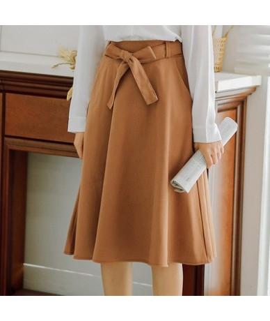 Elegant Women Skirt High Waist Pleated Knee Length Skirt Vintage A Line Big Bow Skirts - Khaki - 444115300121-5