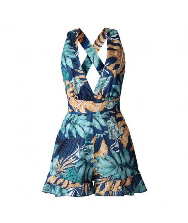 Sexy Deep V Straps Print Sling Romper Floral Women Fashion Playsuit Summer Backless Jumpsuit - Blue - 33053192323