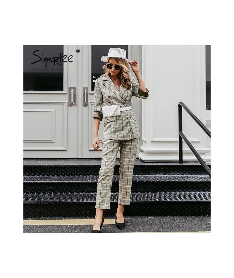 Plaid double breasted women blazer suit set Long sleeve office ladies pant suits female Casual streetwear trouser suit - Mul...