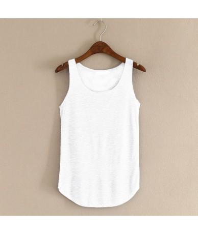 Spring Summer New Tank Tops Women Sleeveless Round Neck Loose T Shirt Ladies Vest Singlets - White - 4F3964313483-11