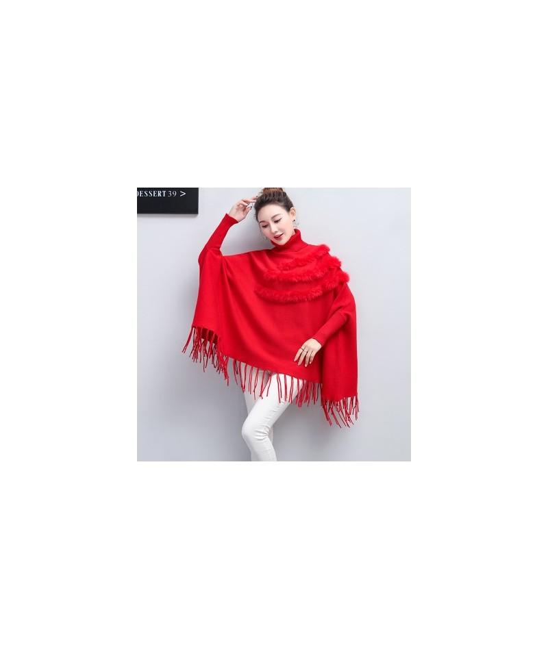 New Spring Women High-Neck Cloak Pullover Loose Long Bat Sleeve Rabbit Fur Cloak Poncho New Tassel Sweater Female - red - 4H...
