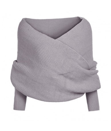 Women Sexy V-neck Wrap Sweaters Chunky Knitted Sweater Off Shoulder Long Sleeve Female Loose Oversized Scarf - Grey - 403053...
