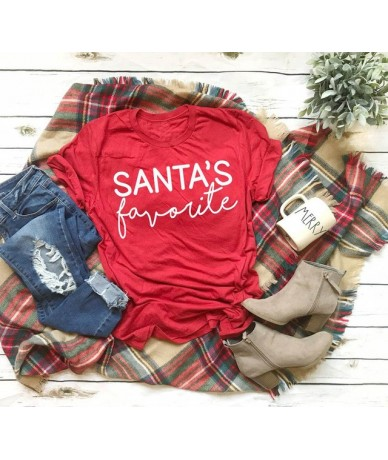SANTA'S favorite T-shirt funny slogan women fashion Hipster Christmas party style tumblr casual tumblr aesthetic shirt red t...