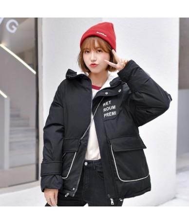 2019 Women Winter Short Jacket Mujer Hooded Parkas Winter Coat Women Loose Parka Letter Print Epaulet Down Cotton Padded Jac...