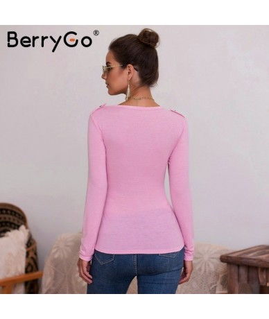Sexy v-neck knitted t-shirts women Casual buttons long sleeve slim female shirts 2019 Elegant white office ladies shirts - P...