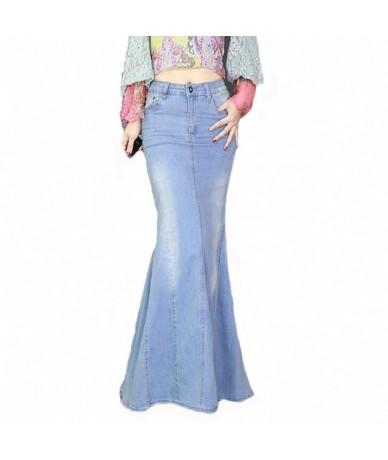 Big Fish Tail Denim Skirt Women Mermaid Stretchy Light Blue Long Skirt Floor-Length Trumpet Empire High Waist Slit Jeans J97...