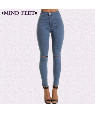 MIND FEET Spring Elastic Women Tight Ripped Jeans Slim Knee Holes Cotton Skinny Denim Jeggings Pants Casual Pencil Pants Wom...