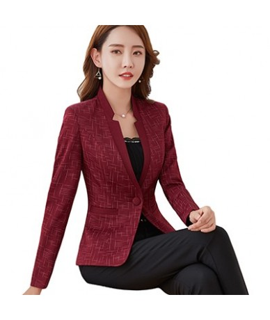 2018 new women V-Neck Jackets and Blazer Office Lady full sleeve striped Blazer Women work Wear Coat S-5XL - Red - 473046691...