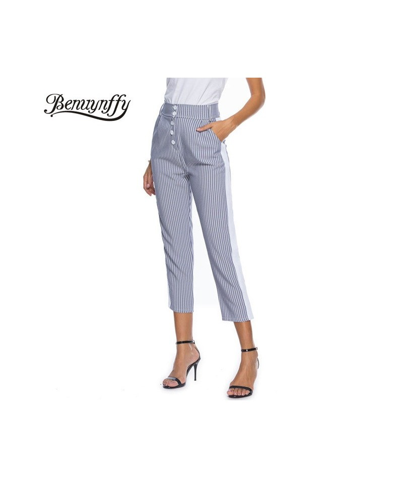 Fashion Button High Waist Office Ladies Pants White Patchwork Striped Casual Trousers Women Elegant Workwear Pants - striped...