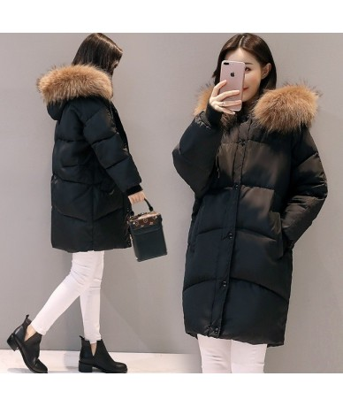 2018 New Fashion Hooded Larger Fur Collar Women Winter Jackets and Coats Female Cotton Padded Long Parkas Ladies Snowwear Xn...