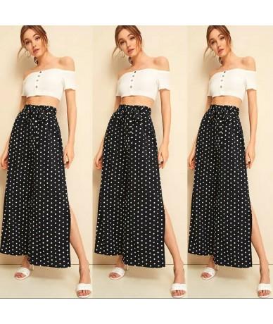 Women Ladies Fashion Palazzo Plain Flared Dots Print High Waist Wide Leg Loose Pants Baggy Trousers High Side Slit - 4S41281...