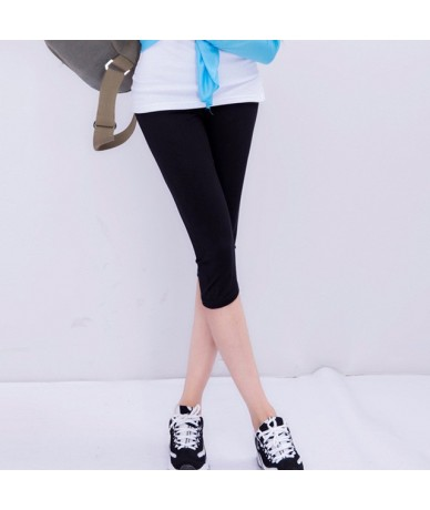 Summer style High Quality big elastic Plus size 7XL Big Size Candy Color Modal Mid-Calf leggings women pants - Black - 4D378...