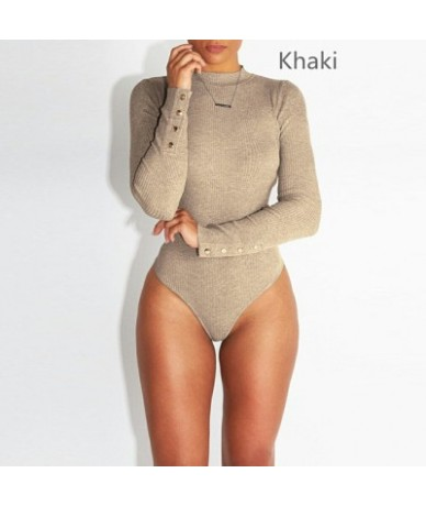New Fashion Stretch Women's Bodysuit With Button Long Sleeve Bodysuit Solid Slim Casual Ladies Rompers Autumn Clothing - Kha...