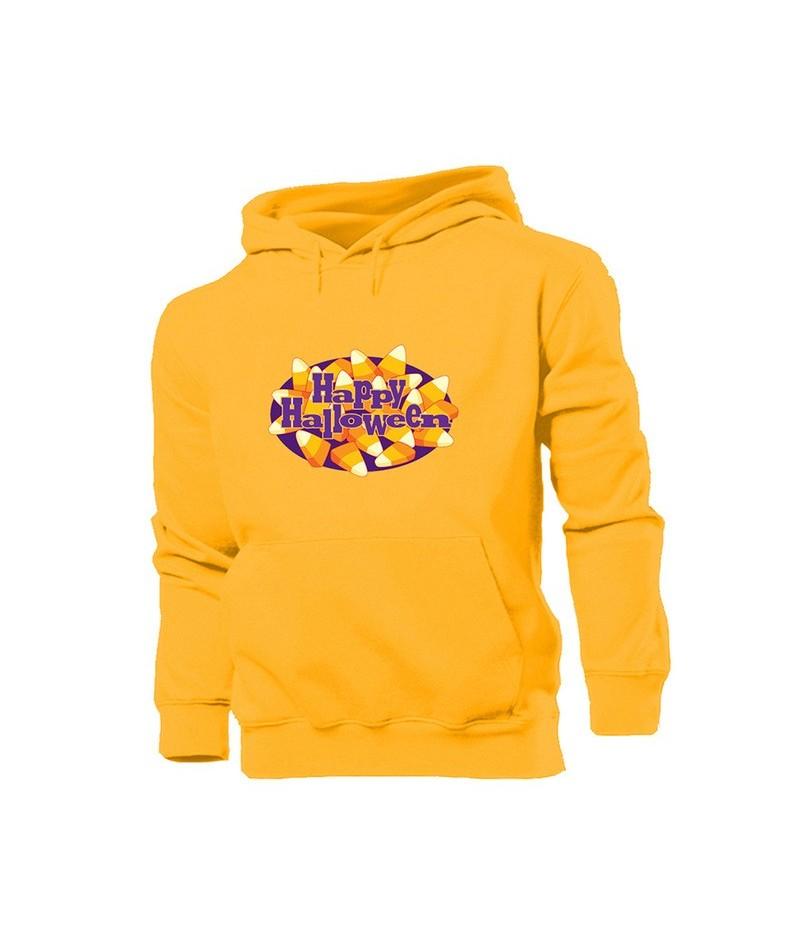 Cartoon October 31 Flying Witch halloween pumpkin lantern Candy Lips Yellow Women's Pattern Hoodie Sweatshirt Hooded Pullove...