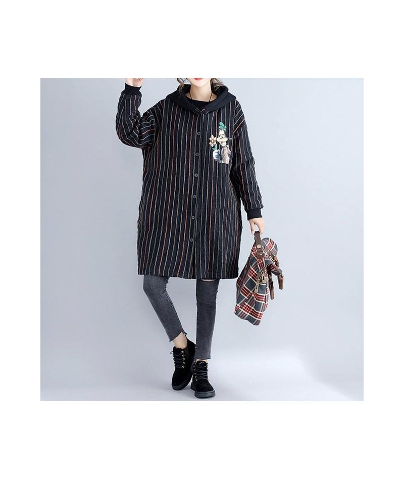 Kawaii Cotton Striped Harajuku Hooded Jacket Long Coat Winter Cartoon Print Parka Women Women Plus Size Outerwear Coat 4XL 5...