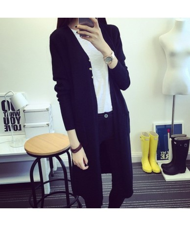 New Spring 2019 Women Sweater Cardigans Casual Warm Long Design Female Knitted Sweater Coat Cardigan Sweater Lady - Black - ...