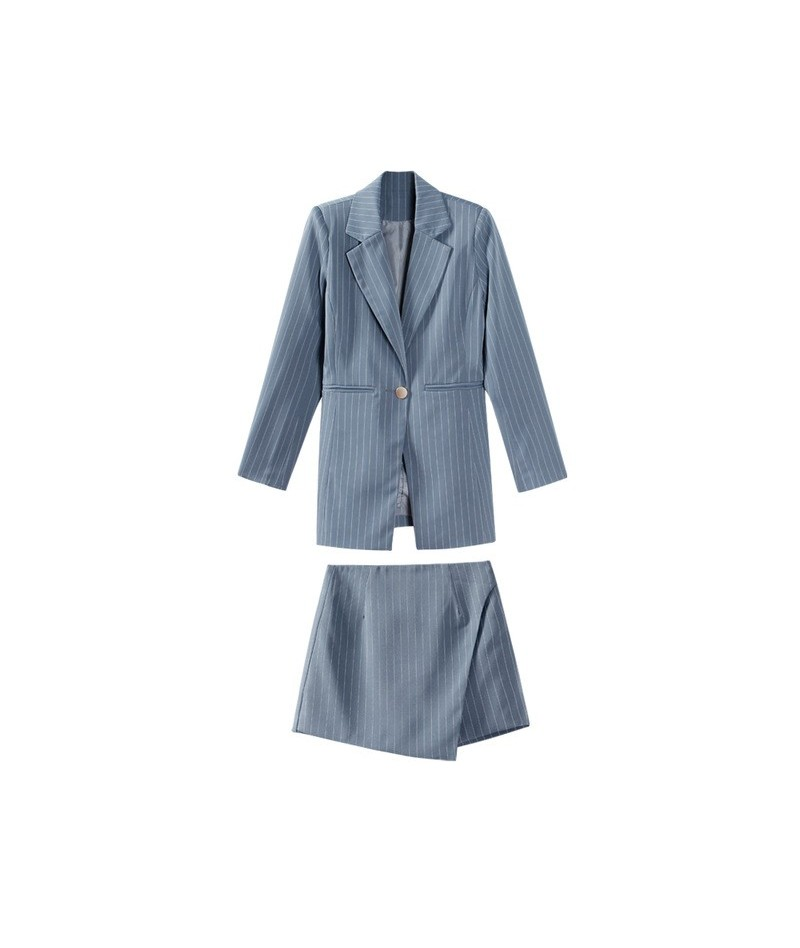 Fashion Women Skirt Suits One Button Notched Striped Blazer Jackets and Slim Mini Skirts Two Pieces OL Sets Female Outfits 2...