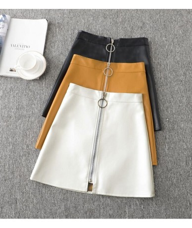 New women's spring autumn and winter pu leather high waist A-line Ring zipper solid color skirt - YELLOW - 403071237729-3