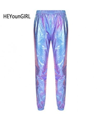 Laser Reflection Harajuku Sweatpants Women Joggers Casual High Waist Pants Capris Hip Hop Holographic Ladies Trousers - Blue...