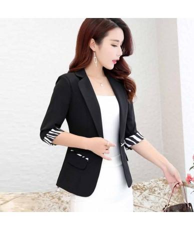 Elegant Women Blazers And Jackets 2019 New Summer Casual Three Quarter Sleeve Blazer Coat Thin Female BlaSer Feminino - Blac...