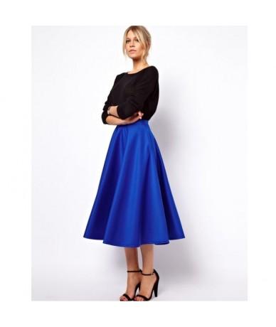 Modest Royal Blue Tea Length Satin Skirts For Women Elegant Office Lady Skirt Female Saias High Quality Custom Made Bottom -...