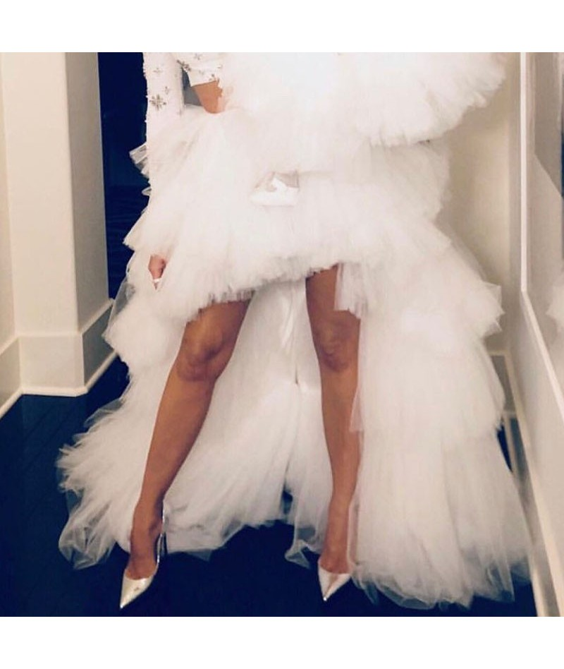 White Ruffle Hi Low Asymmetrical Tulle Bridal Wedding Bridesmaid Skirt Prom Party Skirt Tiered Long Tulle Tutu Skirts Costum...