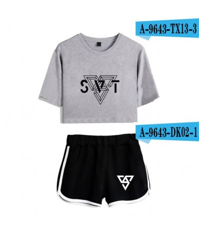 Leisure Suit Round Collar T-shirt and Short Pants Soft Kpop Casual Clothes 2018 New Style O-neck Shirts - G-W - 493055079336-6