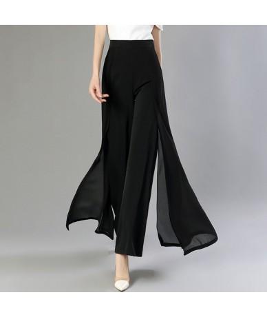 Chiffon Long Trousers High Waist Zipper Patchwork Maxi Wide Leg Pants For Women Spring Elegant Fashion Clothing - Black - 4Y...