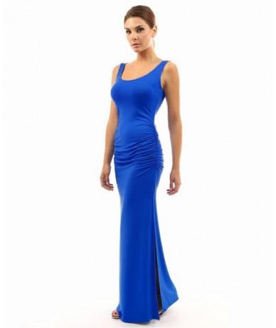 High Stretch Tank Robe Summer 2019 Elegant Women Sexy Dress O-neck Sleeveless Slim Maxi Dress Hem Split Long Dress Vestidos ...