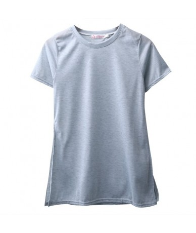 New Style Fashion Women Summer Loose Short Sleeve Casual Split On Both Sides Sexy Tops T-shirt Four Colors Solid - Gray - 4J...