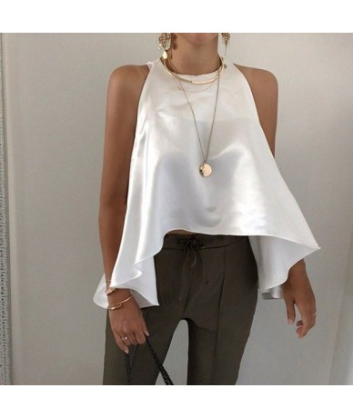 Elegant Solid Women Blouse Off Shoulder O Neck Asymmetrical Hem Oversized Shirt Female Fashion Clothes 2019 Summer - khaki -...