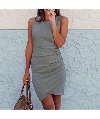 Sleeveless Mini Dress Casual Mini Ruched Summer Women Dress Streetwear Plus Size Basic Tank Dresses Female - Gray - 4H390496...