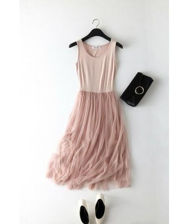 Fashion Women Spring Summer Patchwork Mesh Party Dress Gauze Tank Dress Sundress - Pink - 4C4115012680-5
